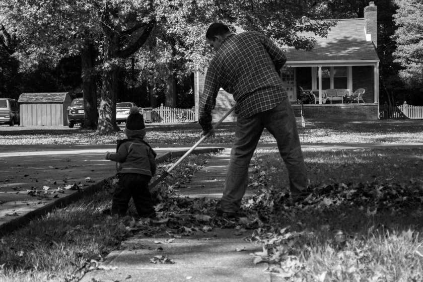 Raking leaves with Daddy